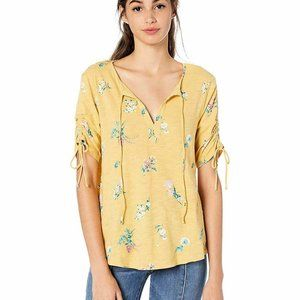 Lucky Brand Ruched Floral Top NWT